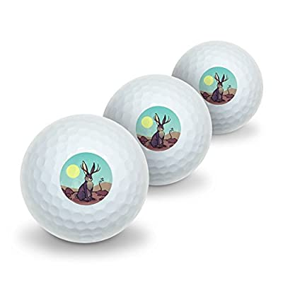 Graphics and More Cartoon Jackalope Novelty Golf Balls 3 Pack