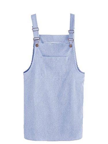 Blue Corduroy Dress - MakeMeChic Women's Bid Strap Pocket Dungaree Mini Overall Dress Blue S