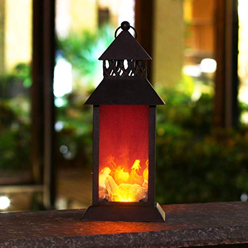 """Decorative Lantern,HAPJOY 15"""" Metal Outdoor Decorative Hanging Lantern with Dancing Fire LED Lights for Outdoor/Indoor-Black-Battery Operate(Not Included)"""