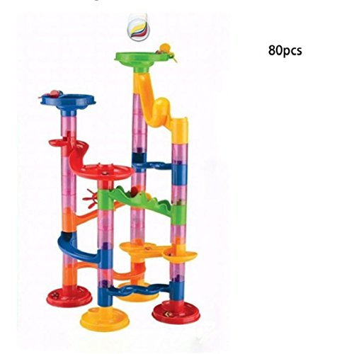 DIY Marble Run Toy ,Gbell Kids Toy Plastic Building Blocks Track Construction Toys Maze Balls, Learning Educational Toy Gift (80PCS Building Blocks+A box marbles)