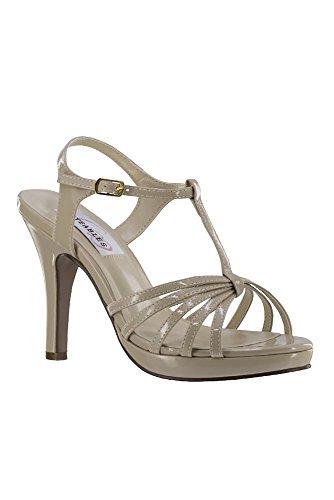 Davids Sposa Cinturino A Strappo Con Tacco Alto Sandalo Stile 50616 Nuda