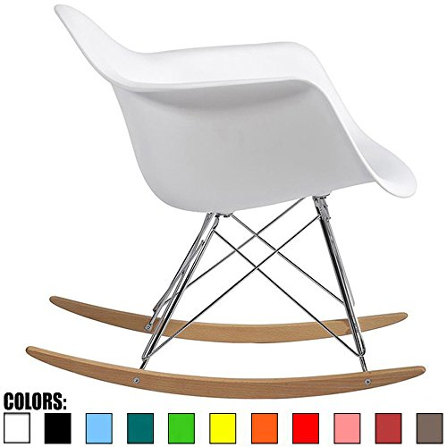 2xhome - White - Eames Style Molded Modern Plastic Armchair