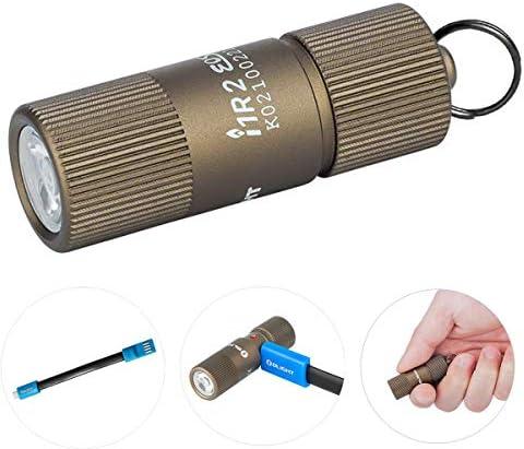 Olight i1R 2 EOS / I1R II EOS Schlüsselanhänger Taschenlampe CSP LED 150 Lumen Kleine Mini Taschenlampen USB Wiederaufladbare Schlüsselbund Taschenlampe mit Batteriefach + USB Ladekabel (Desert Tan)
