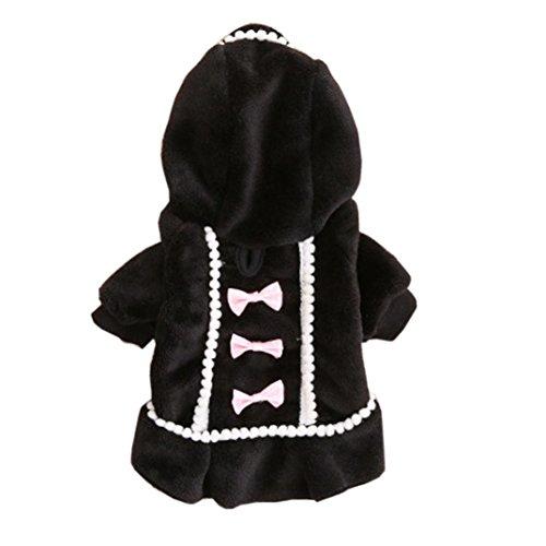 Sumen Winter Puppy Costume Little Girls Dog Warm Cute Jacket (L, Black)