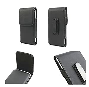 DFV mobile - Leather flip belt clip metal case holster vertical > m-horse n9000w, color negro