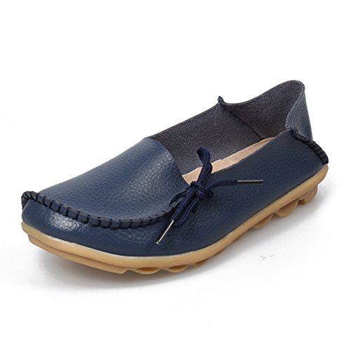 SHIBEVER Women's Leather Loafers Shoes Wild Driving Casual Flats Dark Blue 8