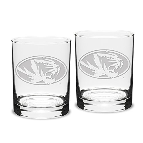 NCAA Missouri Tigers Adult Set of 2 - 14 oz Double Old Fashion Glasses Deep Etch Engraved, One Size, Clear