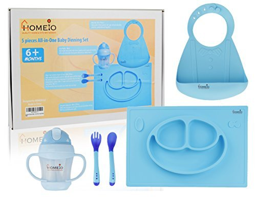 All-in-One Children's Dining Set (5-Piece Kit BLUE SMILEY) – Soft, Flexible Silicone Dishware for Toddlers – Includes Placemat, Sippy Cup, Fork, Spoon, Baby Bib – Boys and Girls 6 Months +