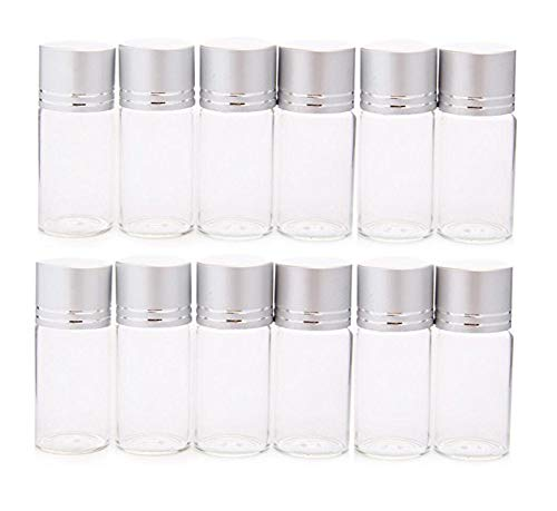 12Pcs 10ml/0.33oz Clear Glass Storage Container Bottle Vial Jars for Cosmetics Travel Essential Oils Powders Creams Ointments Grease and Capsule(Silver Lid) (Grease Capsule)