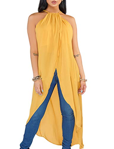 Brown Summer Dress Jeans - YouSexy Women's Solid Chiffon Dress Adjustable Spaghetti Straps Sleeveless Sexy Backless Asymmetrical High Low Tops