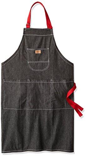 (Dickies Chef Unisex-Adults Denim Bib Apron with Red Straps, Black Denim / Red Straps, OS)