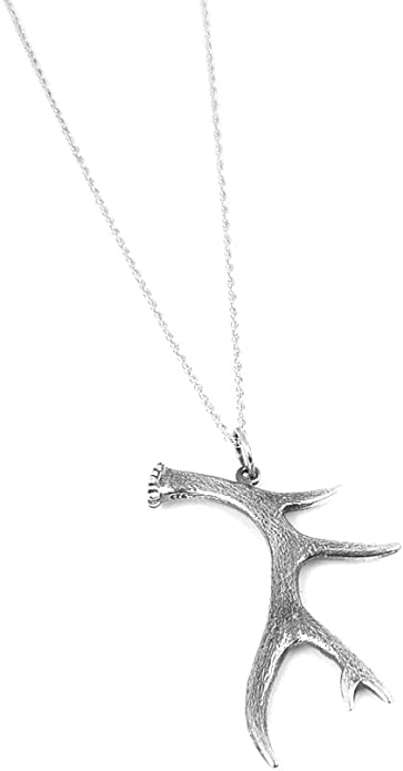 Deer Antler Sterling Silver Charm Necklace Woodland Jewelry Nature Woods Pendant