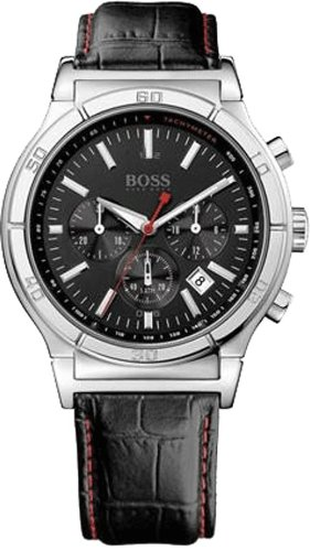 Hugo Boss Gents Chronograph Watch with Black Leather Strap