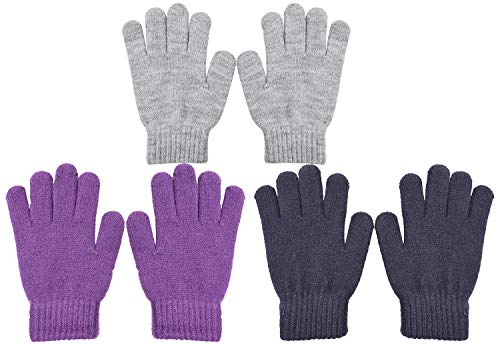 WDSKY Kids Gloves Winter Magic Wool Knit Stretchy Solid Color 3 Pairs Light Grey Purple Black
