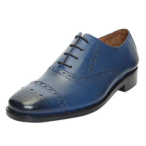 DLT Men's Genuine Imported Leather with Leather Sole Goodyear Welted Oxford Dress Shoes 11 Blue