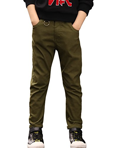 BYCR Boys' Skinny Elastic Waistband Cotton Jogging Pants W9177100732 (Army Green, 150 (US Size - Corduroy Navy Old Pants
