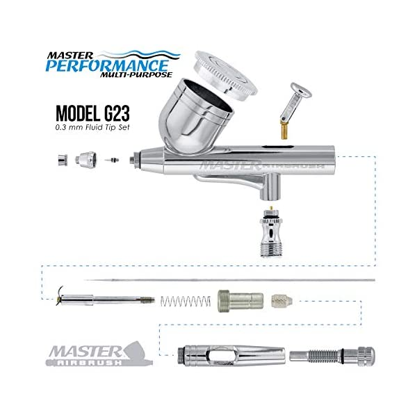 Master Airbrush Model G23 Multi-Purpose Dual-Action Gravity Feed Airbrush Set Kit, 0.3mm Tip, 1/3oz Fluid Cup, Cutaway… 3