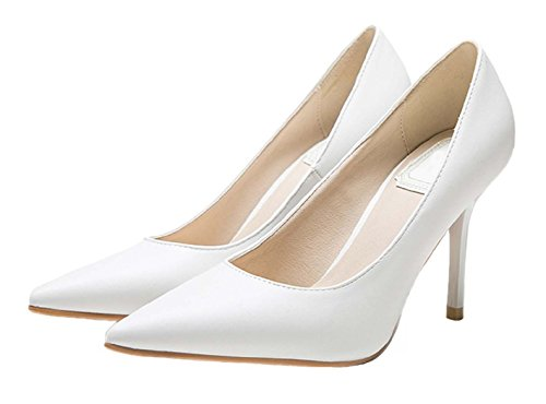HooH Damen Pointed Toe Stiletto Abendschuhe Pumps 1485 Weiß-2