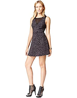 Guess Womens Printed Mesh Inset Party Dress
