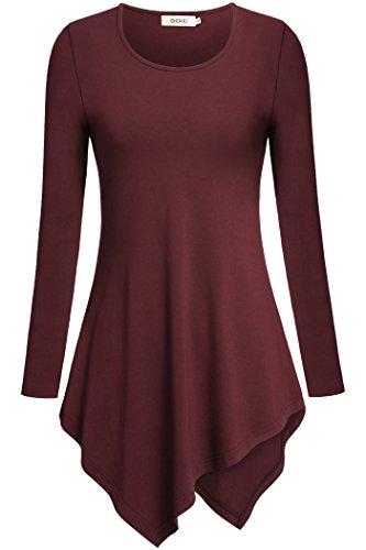 Women Sweatshirt,Bepei Long Sleeve Empire Waist High Low Tunic Shirt Wine XL