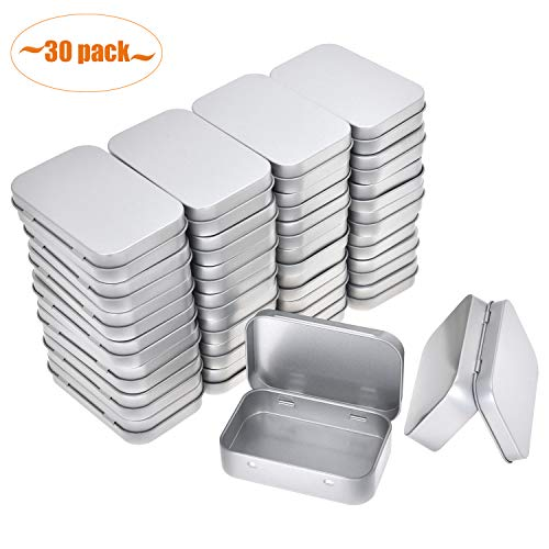 Aybloom Metal Rectangular Empty Hinged Tins - 30 Packs Silver Mini Portable Box Containers Small Storage Kit & Home -