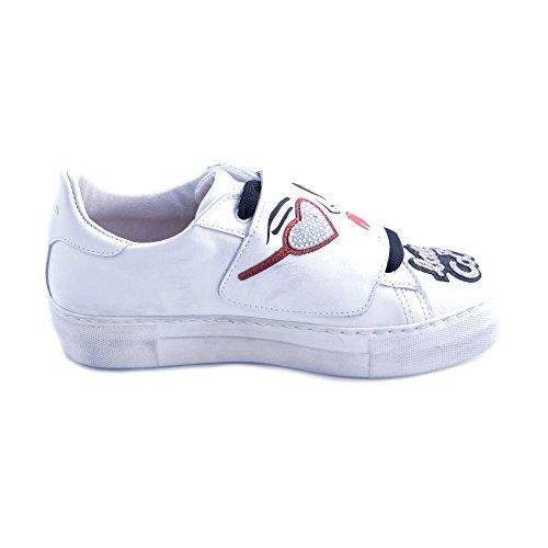Scarpe Bianca de Pelle Donna Taglia Nati in Applicazioni Lait 36 CoMYPsBll7Fl Giulia Sneakers con Patch YxPrXqY