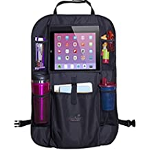 BACK SEAT ORGANIZER / KICK MAT car Baby Child Protector Cover - 12 Compartments iPad Holder, HOLDS IT ALL ( Can Hold Bottles Trash tissue phone books toys diapers wipes maps Head rest attach )