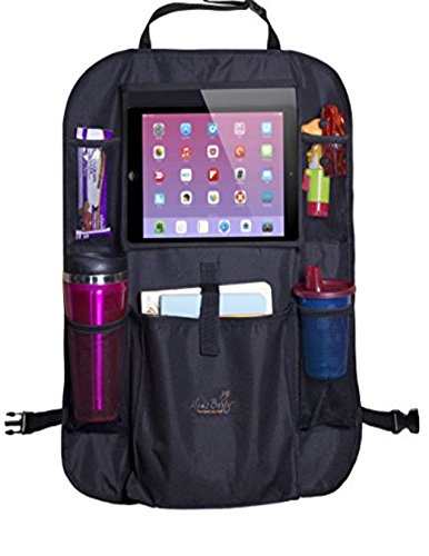 BACK SEAT ORGANIZER/KICK MAT car Baby Child Protector Cover - 12 Compartments iPad Holder, HOLDS IT ALL (Can Hold Bottles Trash tissue phone books toys diapers wipes maps Head rest ()