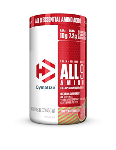(Dymatize All9 Amino with Full Spectrum BCAAs,10g of Essential Amino Acids Per Serving For Optimal Muscle Protein Synthesis, Juicy Watermelon, 15.87 Oz)