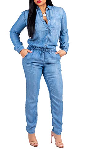 Blue Denim Jumper - Leezeshaw Women Solid Color Long Sleeve Drawstring Tunic Pencil Pants Denim Jumpsuit