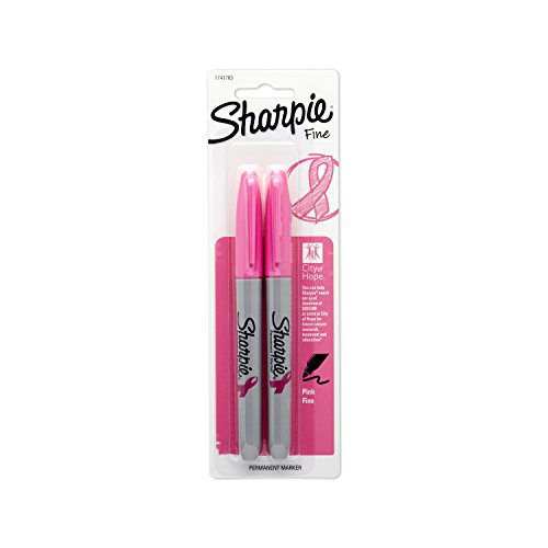 Sharpie 1741763 Pink Ribbon Fine Point Permanent Marker, Pink, 2-Pack