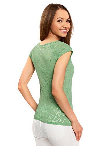 Donna Strutturato Oodji Verde Con 6200f shirt In Raglan Collection T Tessuto Maniche Zqq57