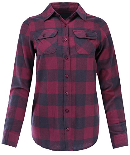 Burgundy Flannel (Ladies' Code Flannel Plaid Button Down Shirt With Roll Up Sleeves Junior Size Burgundy Charcoal M Size)
