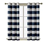 Deconovo Navy Blackout Curtains with Design Grommet Curtains Navy and Greyish White Striped Curtains for Home Decor 42W X 54L Navy Blue