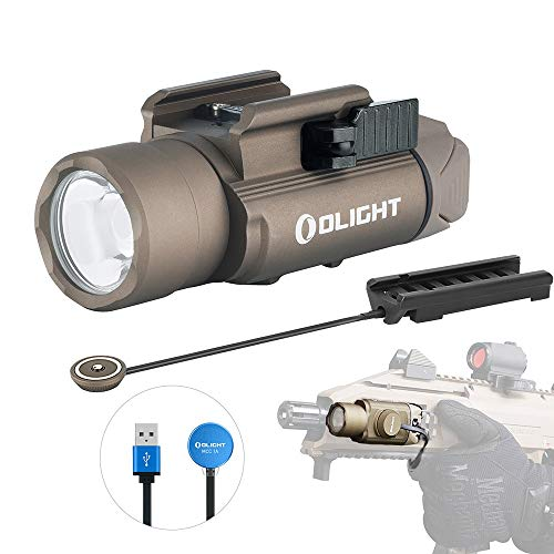 OLIGHT PL-Pro Valkyrie 1500 Lumens Cree XHP 35 HI NW Rechargeable Weaponlight Rail Mount Tactical Flashlight with Magnetic Remote Pressure Switch (Desert Tan (FDE))
