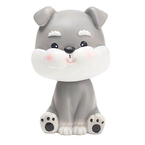 Bobble Head Dogs Car Dash Ornaments Puppy Dogs Mascot Rocking Head for Car Vehicle Decoration (Schnauzer)