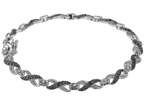 Infinity White and Black Diamond Bracelet 1/2 Carat (ctw) in Sterling Silver