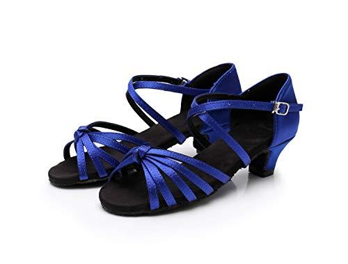 Zapatos Swdzm Baile niñas Mujer Baile Azul Ballroom estándar Es Modelo Satén De xgg Latino RRpEW