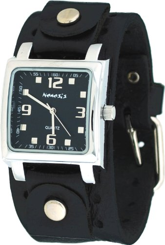 (Nemesis #NE240K Men's Square Black Dial Wide Leather Cuff Band Watch)