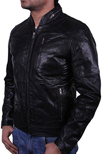 vendimia hombre para chaqueta Brandslock real de motorista cuero 0zwwq