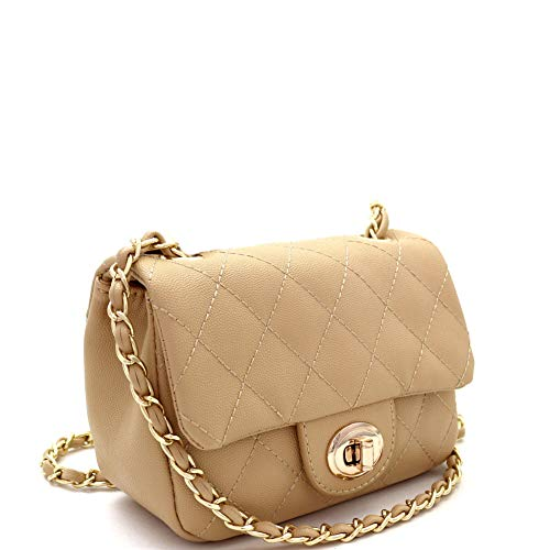 Quilted Turn-Lock Chain Cross Body Shoulder Bag (SMALL-TAN) - Bag Tan Quilted