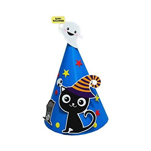 Amosfun DIY Creative Halloween Cartoon Paper Cap Ornament Hat Halloween Costumes for Children Kids (Black Cat) for $<!--$4.78-->