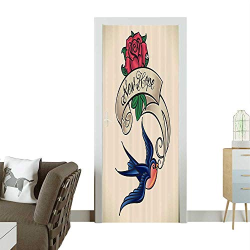 Homesonne 3D Photo Door Murals Rennaissance Writer Inspired Feather Pen Draws RedHeart Artwork Easy to Clean and applyW30 x H80 -