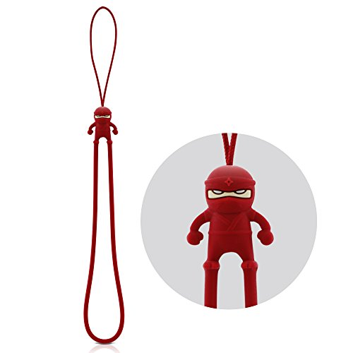 Bone Collection Hand Wrist Strap Lanyard, Cute Cartoon Novelty Cell Phone Charm Elastic Silicone Wristlet Short String for iPhone Case Keys Keychain USB Flash Drive Name Tag ID Badge Holder -Red Ninja (Charms Designer Purses)