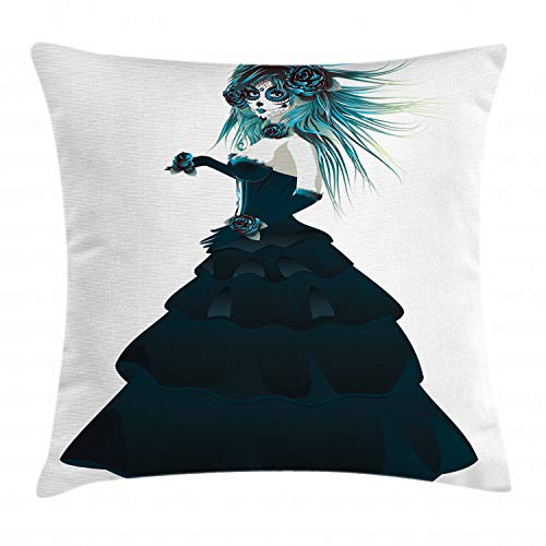 Ambesonne Ethnic Throw Pillow Cushion Cover, Sugar Skull Girl with Prom Dress Roses in Hand Gothic Halloween Lady Zombie Vampire, Decorative Square Accent Pillow Case, 16