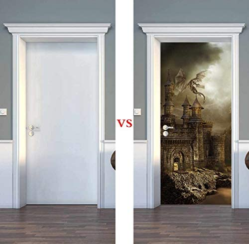 kwpkh Pegatinas De Puerta 3D Castillo Mágico PVC Decoración para El Hogar DIY De Pared Dormitorio Calcomanías para Puertas Mural Poster 77 * 200CM: Amazon.es: Hogar