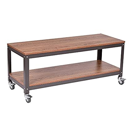 Ordinaire Industrial Coffee Table With Wheels   Rolling Wood U0026 Metal Cart Locking  Casters Bundle W Anti