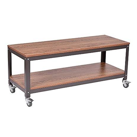 Industrial Coffee Table With Wheels   Rolling Wood U0026 Metal Cart Locking  Casters Bundle W Anti