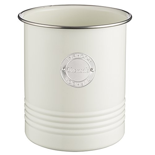 Typhoon Living Cream Utensil Pot, Durable Carbon Steel Crock with a Hard-Wearing Coating, Vintage-Style Countertop Kitchen Tool Holder, 54-Fluid Ounces