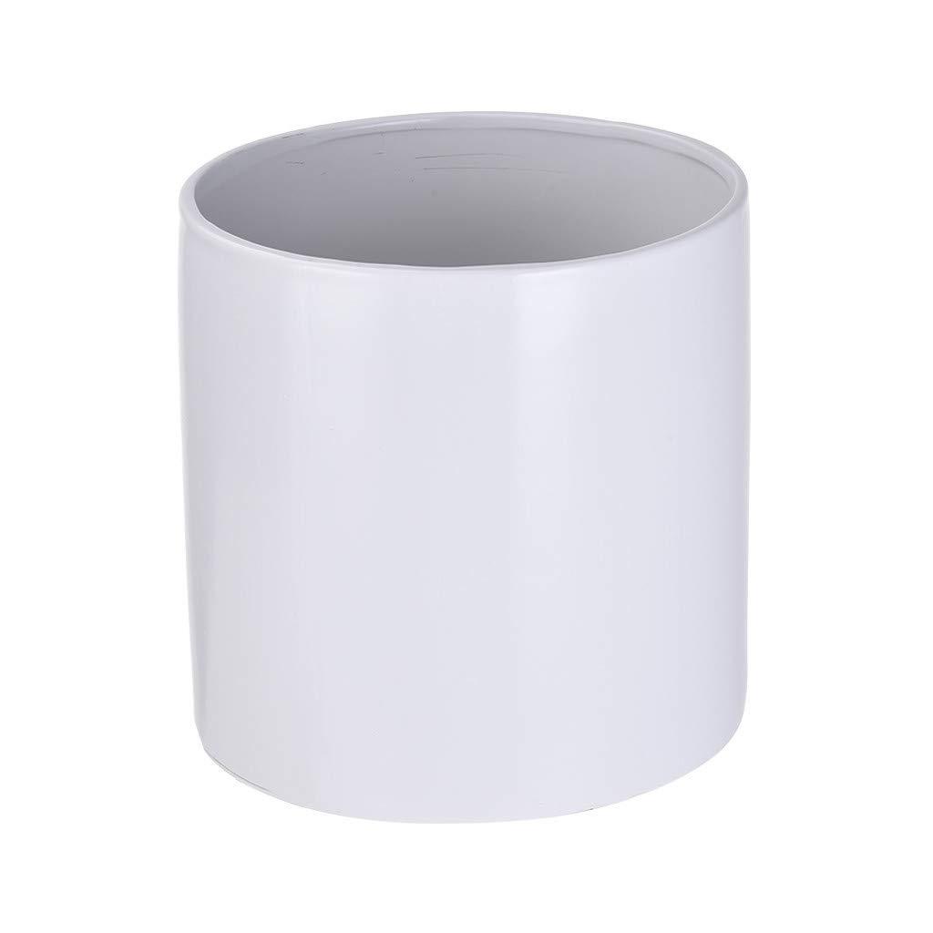 Shimigy Scrub Straight Planting Plant Ceramic Flower Pot White by Shimigy_Home